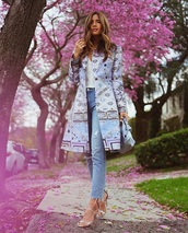 coat,spring coat,spring,top,white top,blue jeans,spring outfits,jeans,denim,sandals,sandal heels,high heel sandals