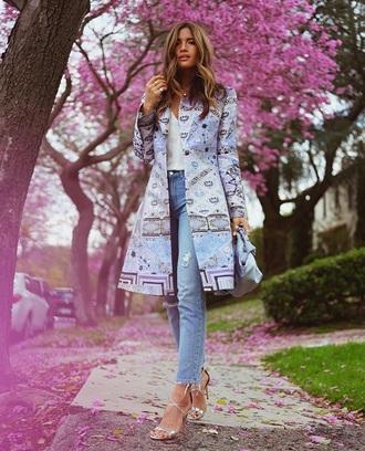 coat spring coat spring top white top blue jeans spring outfits jeans denim sandals sandal heels high heel sandals