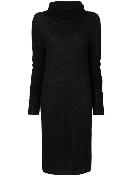 ISABEL BENENATO dress turtleneck dress women cotton black wool