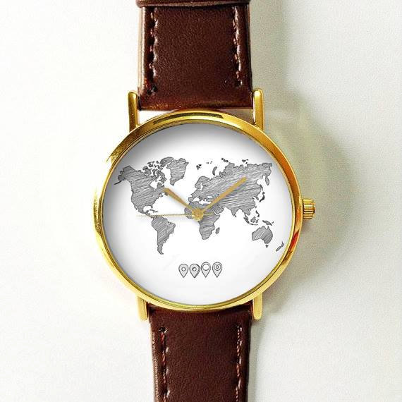 Sketched World Map Watch, Vintage Style Leather Watch, Women Watches, Boyfriend Watch, , Men's Watch, Silver Gold Rose, Travel, black white