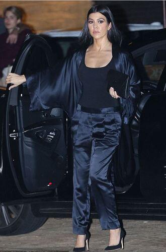 shoes top pants all black everything kourtney kardashian jacket blazer suit