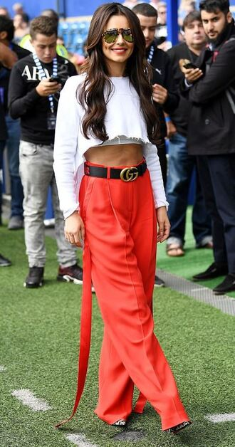 pants sweater crop tops crop top cheryl fernandez red pants belt
