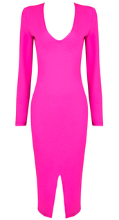 pink,pink dress,dream it wear it,slit dress,fuchsia,hot pink,hot pink dress,long sleeves,long sleeve dress,party,party dress,sexy party dresses,sexy,sexy dresss,sexy dress,v neck,v neck dress,bodycon,bodycon dress,spring,spring dress,fall outfits,fall dress,winter dress,winter outfits,classy,classy dress,elegant,elegant dress,cocktail,cocktail dress,girly,date outfit,birthday dress,holiday dress,holiday season,christmas,christmas dress,clubwear,romantic,romantic summer dress,romantic dress,dope,style,cool