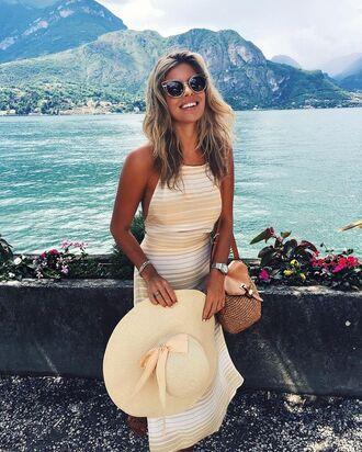 dress natasha oakley striped dress maxi dress summer dress summer outfits hat straw hat sunglasses cat eye bag brown bag