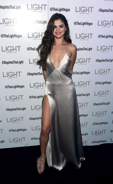 Dress Slit Satin Gown Prom Selena Gomez Sandals Sexy Wedding