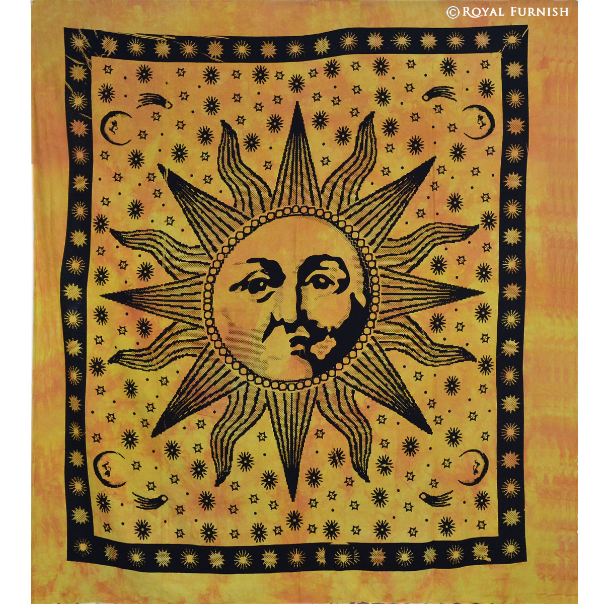 Yellow bright sun moon dorm room hippie tie dye indian tapestry wall hanging