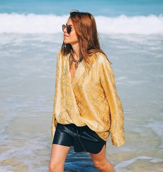 maja wyh blogger shirt gold leather shorts necklace