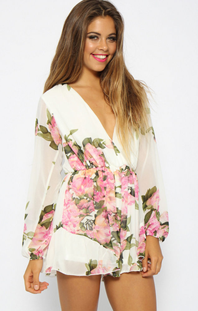 Silk Like White Floral Plunging Neckline Frill Hem Long Sleeve Playsuit | eBay