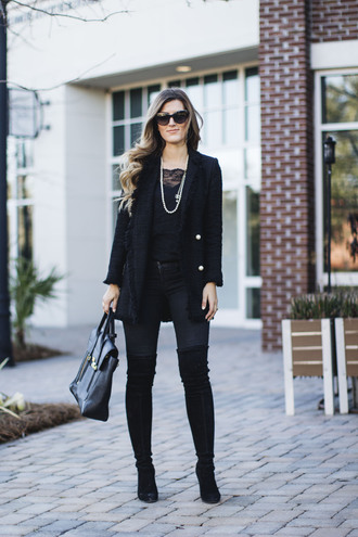 chicstreetstyle blogger jacket tank top jeans shoes sunglasses bag jewels blazer camisole boots over the knee boots all black everything winter outfits