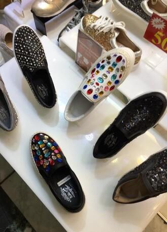 shoes jewels espadrilles platform shoes multicolor jeweld flatforms leather slip on shoes plimsolls