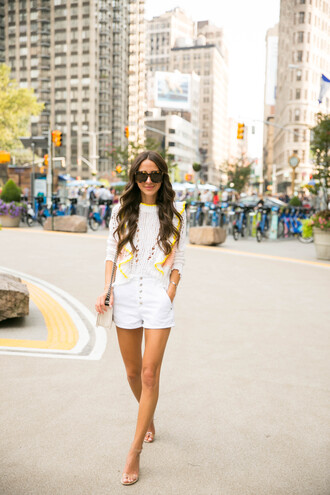 something navy blogger sweater shorts shoes sunglasses bag sandals high heel sandals white shorts summer outfits
