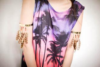 shirt asos palm tree print ombre island california beach sleeveless tank top
