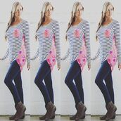 top,clk fashions boutique,shirt,spring,trendy,instagram,floral,stripes,gorgeous,beautiful