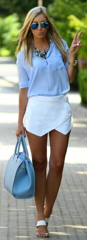 skirt,sunglasses,blouse,shirt,shorts,white,overlap,baby blue,top,baby blue shirt,baby blue blouse,summer,fall outfits,fashion,spring,fashionista,casual,classy,chic,skorts,white skort,blogger,blue,glasses,white skirt,fashion blogger,flowy,easy fit,half sleeves,mini skirt