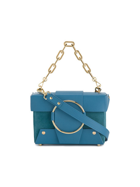 mini women bag leather blue suede