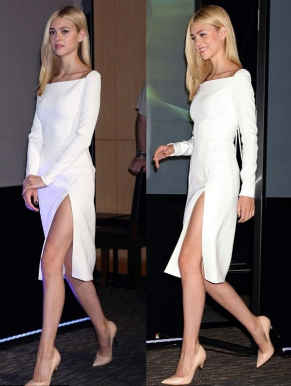dress shoes nicola peltz white dress white long sleeves leg slit classic minimalist white hot