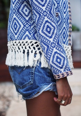 jacket blue white indie bohem girl tumblr tan jeans festival summer kimono cardigan cochella help fashion clothes fringes