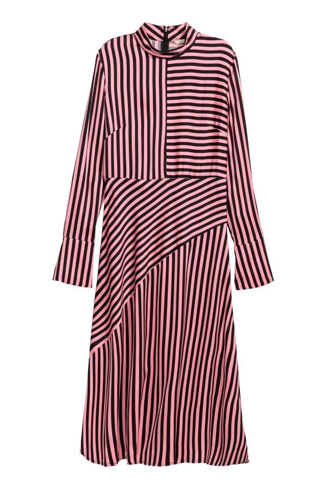Asymmetric dress - Pink/Black striped - Ladies | H&M CN