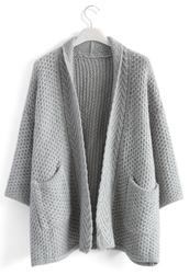 cardigan,cozy waffle knit cardigan in grey,chicwish,grey