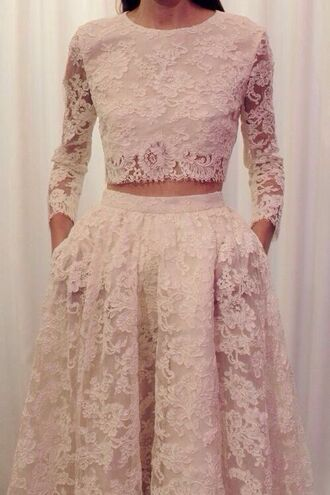 clothes white crop tops white skirt lace crop top wedding dress wedding clothes lace dress cropped lace elegant dress