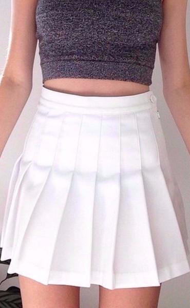 Pleated Mini Skirt - White