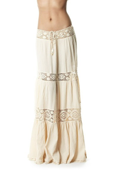 white indie boho hippie skirt maxi skirt gauze skirt long lace dress