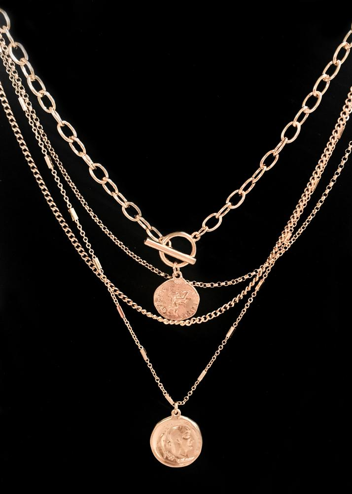 Layered Greek Coin Necklace
