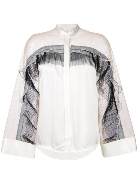 shirt pleated women white top
