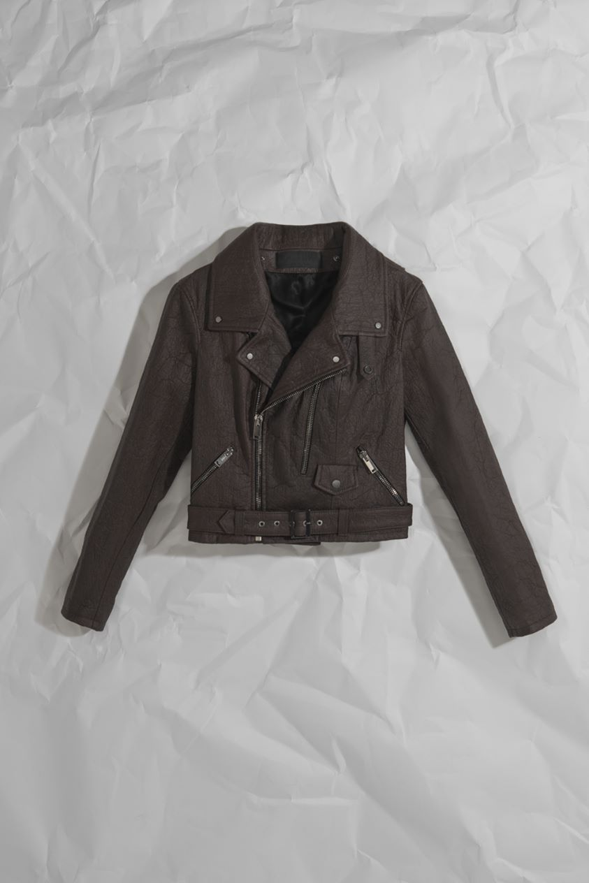 WOMENS NEO-CLASSIC BIKER JACKET IN BROWN