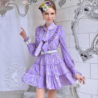 dress short dress cute daisy print dress purple vintage cute dress