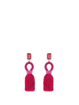 short tassel embellished earrings silk pink jewels