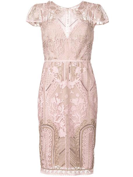 Marchesa Notte dress lace dress metallic women lace purple pink