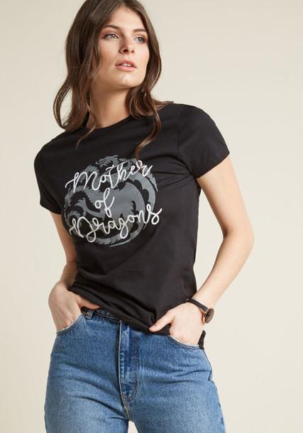 GTA0033B t-shirt shirt cotton t-shirt t-shirt short dragons cotton print black top