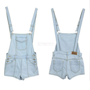 Women Shortall Overall Cowboy Denim Short Jeans Pants Jumpsuit Suspender FN103
