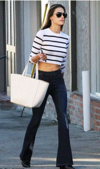 jeans stripes striped top alessandra ambrosio crop tops flare jeans fall outfits