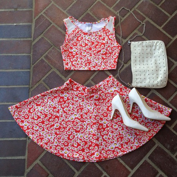 floral dress white red dress two-piece dress bag white shoes, shoes, heels, indie, fashion, tank top daisy crop too daisy crop top crop tops floral red daisy crop top