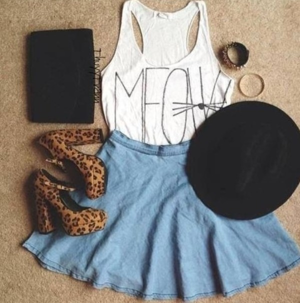 t-shirt t-shirt skirt blue skirt meow shoes leopard print high heels