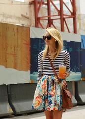 skirt,clothes,shirt,floral,flowers,floral skirt,flower skirt,pleatedskirt,top,black and white,striped shirt