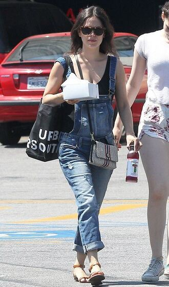 jeans top overalls rachel bilson sandals sunglasses denim