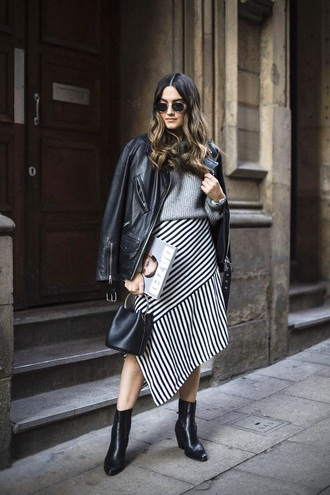skirt asymmetrical striped skirt midi skirt leather jacket black leather jacket black jacket sweater asymmetrical skirt stripes jacket
