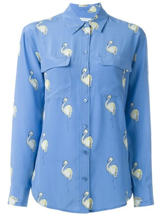 shirt women flamingo print blue silk top
