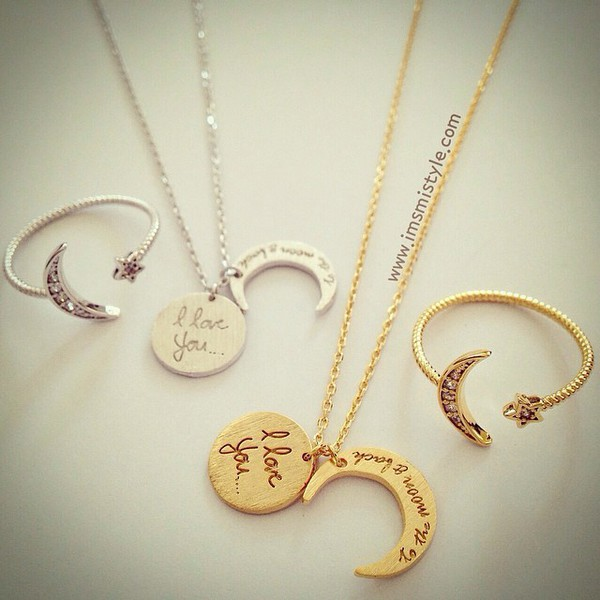 jewels necklesss moon i love you to the moon and back