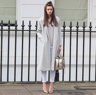 peexo blogger sweater bag white jeans metallic long coat