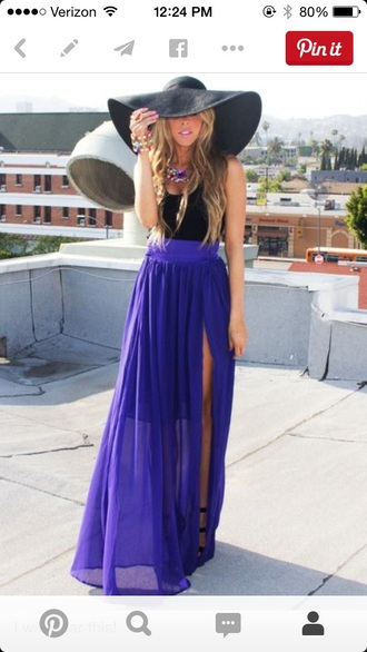 skirt purple dark purple skirt blue beautiful high waisted skirt slit skirt perfecto slit maxi skirt