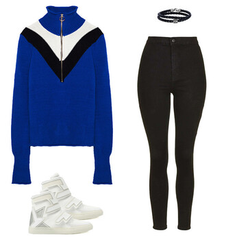 sweater black jeans skinny jeans zara topshop white shoes sneakers white sneakers colorblock high neck turtleneck sweater turtleneck