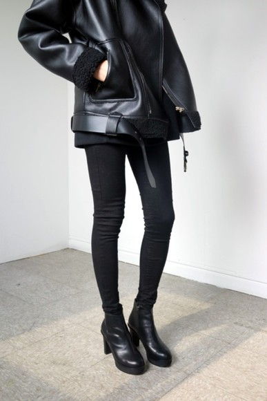 black coat parka shoes boots ankle boots coat black fur jacket cute leather jacket leather black leather fur and leather