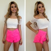 shorts,hot pink,High waisted shorts,hug,blouse,pink,neon,top,crop tops