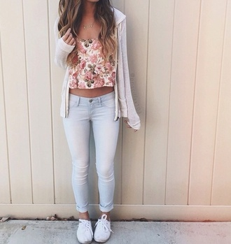 top pretty tumblr hipster floral indie crop tops cardigan tank top jeans