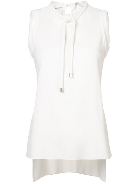 Oscar de la Renta - tie neck tank top - women - Silk/Lyocell - 6, White, Silk/Lyocell