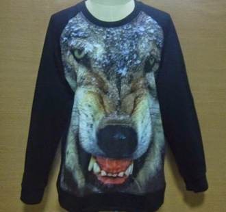 sweater crewneck wolf printed sweater